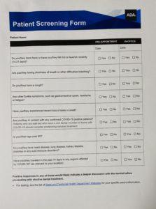Covid-19 screening form